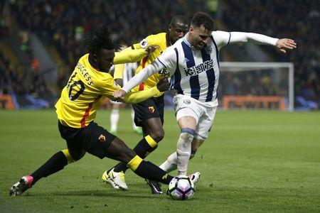 West Bromwich Albion's Hal Robson-Kanu in action with Watford's Isaac Success