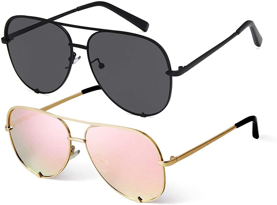<p>You can't go wrong with these <span>SORVINO Classic Oversized Aviator Sunglasses UV400 Protection</span> ($23 for 2). You get one classic pair and one that's more adventurous.</p>