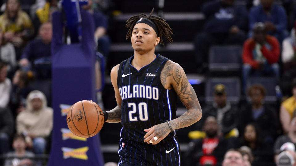 Orlando Magic guard Markelle Fultz (20) plays in the second half of an NBA basketball game against the Memphis Grizzlies Tuesday, March 10, 2020, in Memphis, Tenn. (AP Photo/Brandon Dill)