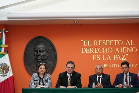 Mexico's Foreign Minister Marcelo Ebrard holds a news conference following talks with members of the Trump administration in Washington