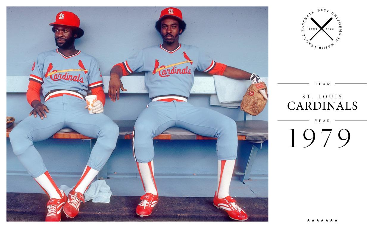 """<p>The Cardinals debuted bright blue jerseys in the late 1970s, and in 1982, when the Cardinals defeated the Milwaukee Brewers to win the World Series, they were nicknamed """"Victory Blue"""" because of their unique road uniforms. The team now wears plain white or gray. <i>(Photo: Getty Images)</i></p>"""