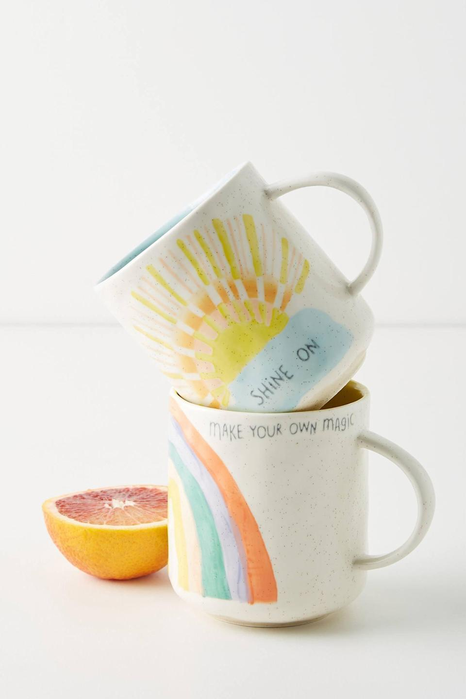 "<p>Feel good drinking your morning coffee from this <a href=""https://www.popsugar.com/buy/Positive-Vibes-Mug-562181?p_name=Positive%20Vibes%20Mug&retailer=anthropologie.com&pid=562181&price=14&evar1=casa%3Aus&evar9=47360872&evar98=https%3A%2F%2Fwww.popsugar.com%2Fhome%2Fphoto-gallery%2F47360872%2Fimage%2F47361140%2FPositive-Vibes-Mug&list1=shopping%2Chome%20decor%2Cdecor%20shopping%2Chome%20shopping&prop13=api&pdata=1"" rel=""nofollow noopener"" class=""link rapid-noclick-resp"" target=""_blank"" data-ylk=""slk:Positive Vibes Mug"">Positive Vibes Mug</a> ($14).</p>"