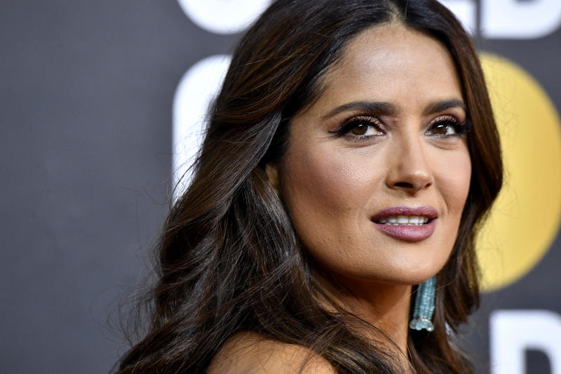 Salma Hayek at the 2020 Golden Globes. (Photo by Frazer Harrison/Getty Images)