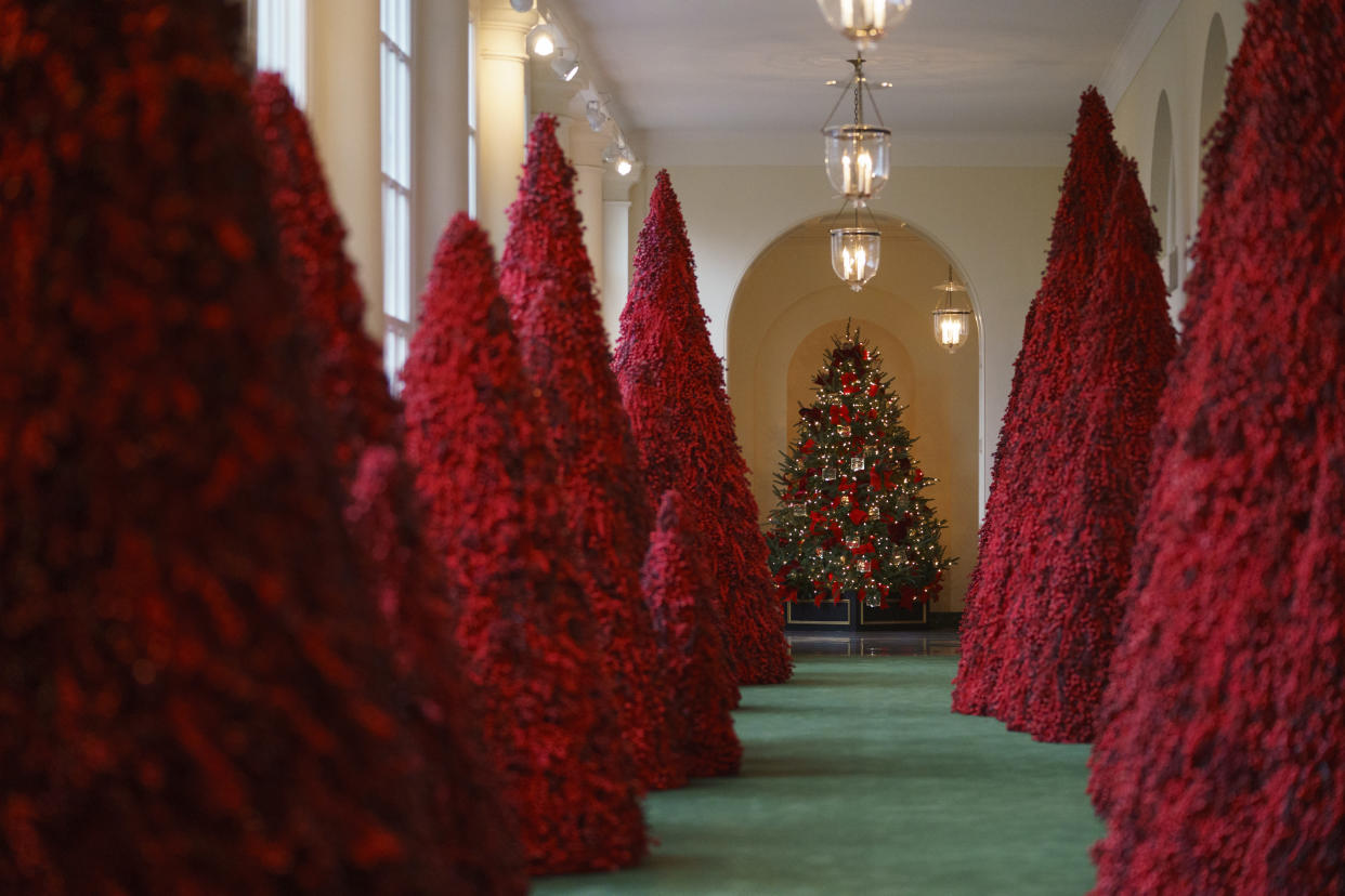 Topiary trees line the East colonnade during the 2018 Christmas Press Preview at the White House in Washington, Monday, Nov. 26, 2018. (Photo: Carolyn Kaster/AP)