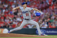Los Angeles Dodgers' Walker Buehler throws during the first inning of the team's baseball game against the Cincinnati Reds in Cincinnati, Friday, Sept. 17, 2021. (AP Photo/Aaron Doster)