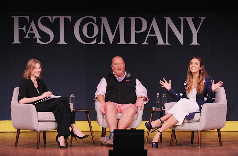 Amy Farley, Mario Batali and Jessica Alba at the Fast Company Innovation Festival on Oct. 25. (Craig Barritt via Getty Images)