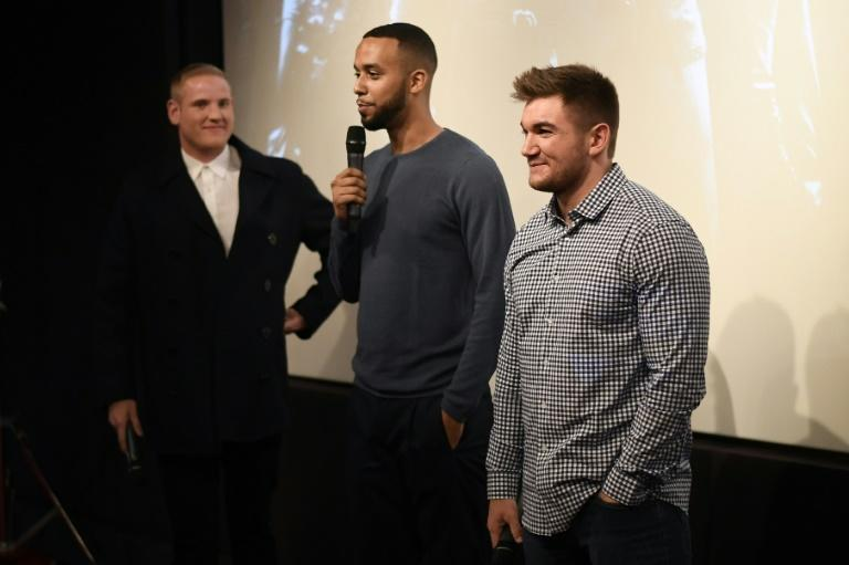 Spencer Stone (L), Anthony Sadler (C) and Alek Skarlatos (R) are credited with thwarting the terrorist attack in August 2015