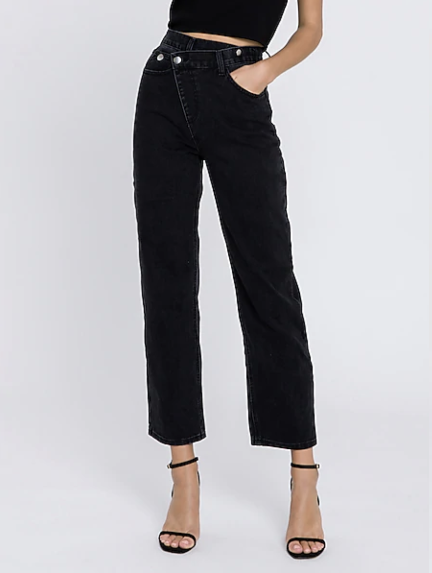"""<br><br><strong>Express</strong> High Waisted Asymmetric Wrap Straight Jeans, $, available at <a href=""""https://go.skimresources.com/?id=30283X879131&url=https%3A%2F%2Fwww.express.com%2Fclothing%2Fwomen%2Fgrey-lab-high-waisted-asymmetric-wrap-straight-jeans%2Fpro%2F80004598%2Fcolor%2FBLACK%2F"""" rel=""""nofollow noopener"""" target=""""_blank"""" data-ylk=""""slk:Express"""" class=""""link rapid-noclick-resp"""">Express</a>"""