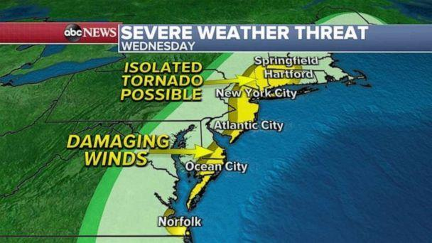 PHOTO: Ahead of this storm system, warm air could help to produce severe thunderstorms from Norfolk, Virginia to New York City and Springfield, Massachusetts (ABC News)