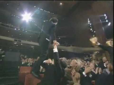 "<p>The Italian actor and director was so excited that the movie <em>Life is Beautiful</em> won the Oscar for ""Best Foreign Film,"" <a rel=""nofollow"" href=""http://www.nydailynews.com/entertainment/memorable-moments-oscars-gallery-1.2120715?pmSlide=1.2120700"">he walked on the backs of seats</a>. People thought his reaction was a bit overdramatic. </p><p><a rel=""nofollow"" href=""https://www.youtube.com/watch?v=lFWAReCxdS0"">See the original post on Youtube</a></p>"