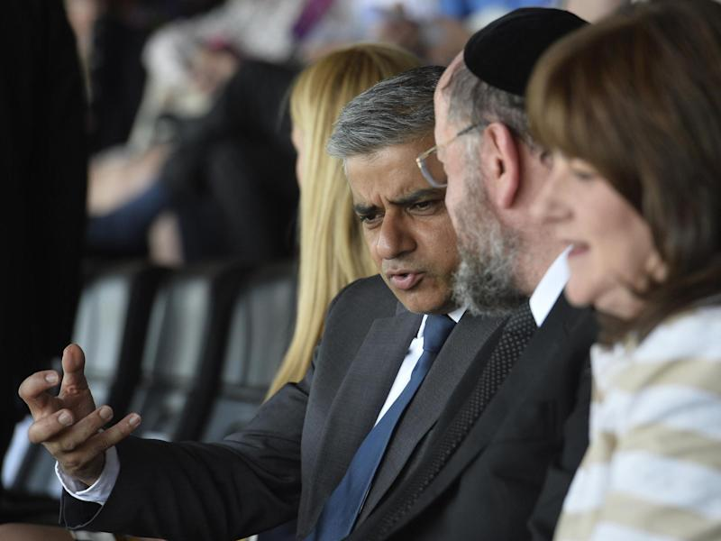 Sadiq Khan talks to Chief Rabbi Ephraim Mirvis of the United Hebrew Congregations of the Commonwealth during a Jewish community Holocaust commemoration event in London 2016: EPA
