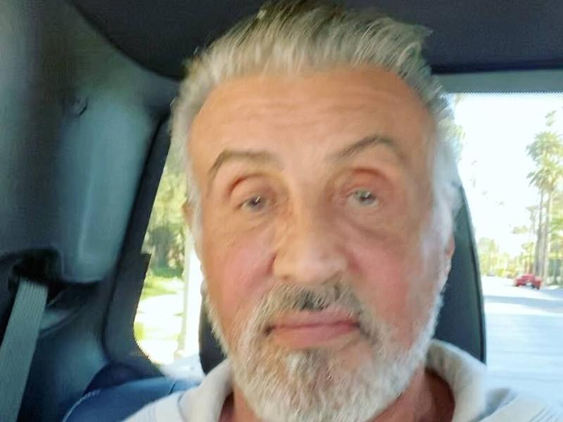 Sylvester Stallone ditches jet-black locks for natural grey hair