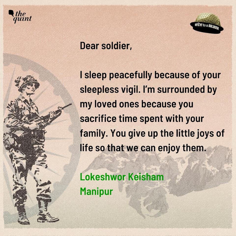 Lokeshwor Keisham from Manipur sends his sandesh to a soldier.