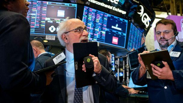PHOTO: Trader Peter Tuchman works on the floor of the New York Stock Exchange Thursday, Feb. 27, 2020 (Craig Ruttle/AP)