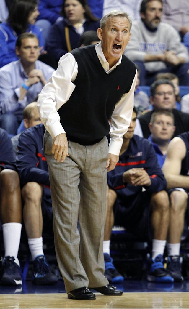 Belmont head coach Rick Byrd directs his team during the first half of an NCAA college basketball game against Kentucky, Saturday, Dec. 21, 2013, in Lexington, Ky. (AP Photo/James Crisp)