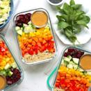 <p>Make good use of crunchy and colorful seasonal produce in these meal-prep-friendly vegetable bowls. With just 30 minutes of prep, you get four healthy lunches that are ready to grab-and-go. We use bulgur, which cooks faster and is higher in fiber than brown rice, but you could swap in quinoa (or any hearty whole grain). Feel free to add chopped cooked chicken, shrimp or tofu for extra protein.</p>