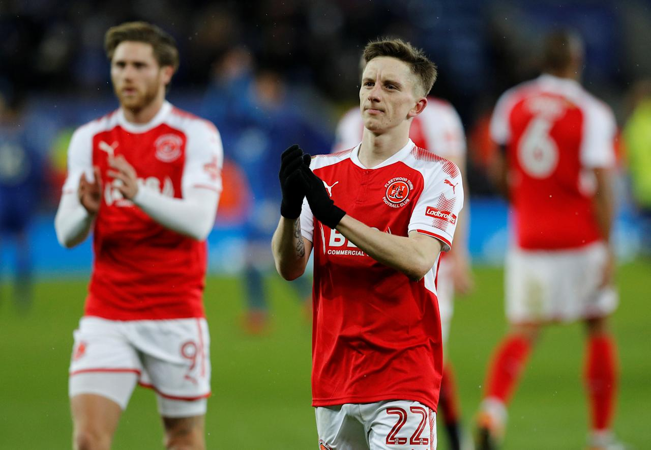 Soccer Football - FA Cup Third Round Replay - Leicester City vs Fleetwood Town - King Power Stadium, Leicester, Britain - January 16, 2018   Fleetwood Town's Ashley Hunter applauds fans after the match     REUTERS/Darren Staples