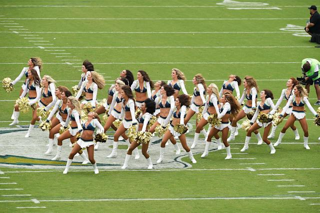 <p>The Los Angeles Charger Girls perform before the game between the Los Angeles Chargers and the Miami Dolphins at the StubHub Center on September 17, 2017 in Carson, California. (Photo by Kevork Djansezian/Getty Images) </p>