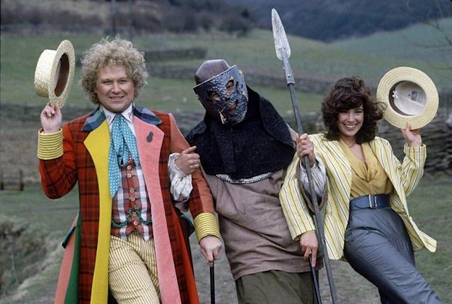 Colin Baker as Doctor Who and Nicola Bryant as Perpugilliam in 'Doctor Who' (Photo Credit: Mirrorpix/Courtesy Everett Collection)