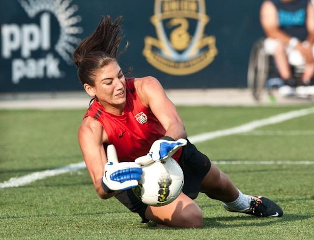 US women's national football team goalkeeper Hope Solo warms up before an international women's friendly match against China at PPL Park in Chester, Pennsylvania, on May 27, 2012. AFP PHOTO/Nicholas KAMMNICHOLAS KAMM/AFP/GettyImages