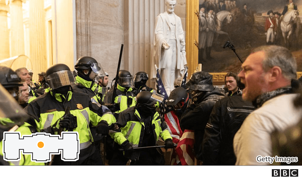 Police confront protesters at the Capitol building