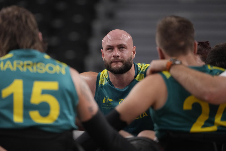 Australia's Chris Bond reacts after losing to the United States in a semifinal wheelchair rugby match against the United States at the Tokyo 2020 Paralympic Games, Saturday, Aug. 28, 2021, in Tokyo, Japan. (AP Photo/Kiichiro Sato)