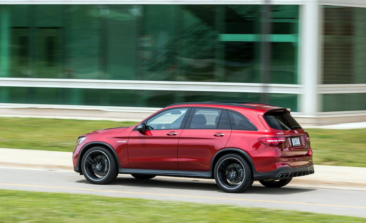 "<p>The boxier GLC63 SUV tested here is available only with the lower-output state of tune. Surprisingly, perhaps, we like it better than <a rel=""nofollow"" href=""https://www.caranddriver.com/reviews/2018-mercedes-amg-glc63-s-coupe-test-review"">the burlier GLC63 S coupe</a>. (Both GLC variants also are available in six-cylinder GLC43 guise.)</p>"