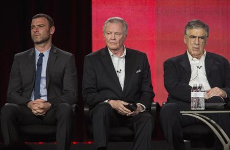 """Schreiber, Voight and Gould of show """"Ray Donovan"""" listen to questions on stage during Showtime panel presentation of 2013 Winter Television Critics Association Press Tour at Langham Huntington Hotel in Pasadena, California"""