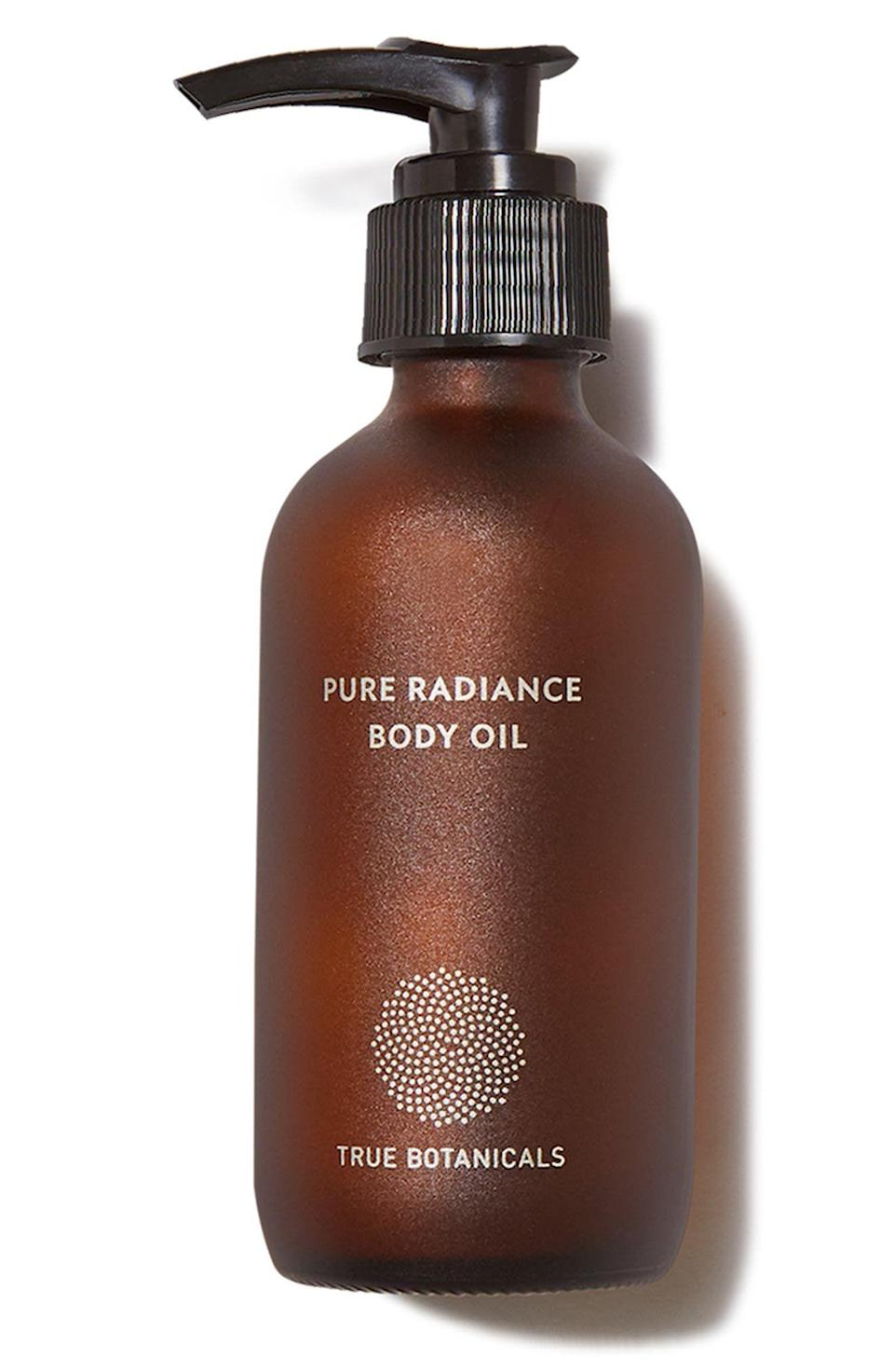 """<p><strong>TRUE BOTANICALS</strong></p><p>nordstrom.com</p><p><strong>$48.00</strong></p><p><a href=""""https://go.redirectingat.com?id=74968X1596630&url=https%3A%2F%2Fwww.nordstrom.com%2Fs%2Ftrue-botanicals-pure-radiance-body-oil%2F5850668&sref=https%3A%2F%2Fwww.womenshealthmag.com%2Fbeauty%2Fg37374736%2Fbest-body-oil%2F"""" rel=""""nofollow noopener"""" target=""""_blank"""" data-ylk=""""slk:Shop Now"""" class=""""link rapid-noclick-resp"""">Shop Now</a></p><p>Powered by green tea seed, hemp seed, and sandalwood oil—in addition to a slew of other antioxidants and essential fatty acids—this pregnancy-safe, hypoallergenic blend can be applied post-shower for an instant, all-over glow-up. A little goes a long way. Try it twice a week to start reaping its skin smoothing benefits, and up your applications if you just can't get enough of the subtle woodsy scent.</p>"""