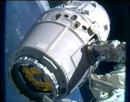 This frame grab from a NASA video shows SpaceX's Dragon cargo ship berthed to an ISS port on May 25. The Dragon cargo ship is preparing to make its return journey to Earth after a landmark mission to the ISS, NASA and SpaceX said