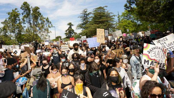 PHOTO: In this May 30, 2020, photo, protesters in Los Angeles are shown. (Joe Kohen/REX via Shutterstock)