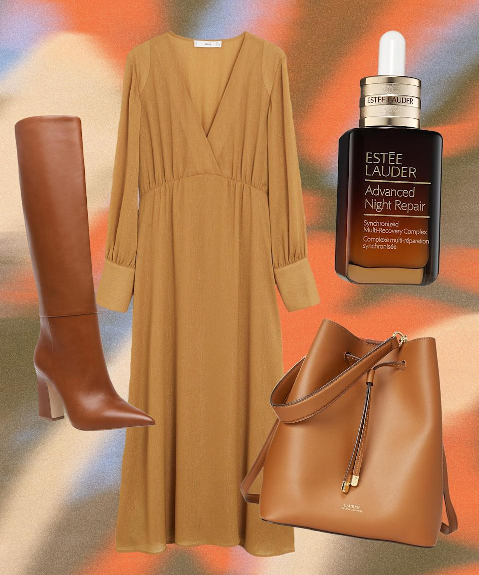 """A midi dress feels dreamy and romantic with '70s-reminiscent elements toughened up with a glam tall boot and a bucket bag. To counter the dry fall weather, don't forget to repair and moisturize your skin while you sleep via a hydrating night serum.<br><br><strong>Mango</strong> Metallic Thread Midi Dress, $, available at <a href=""""https://go.skimresources.com/?id=30283X879131&url=https%3A%2F%2Fwww.macys.com%2Fshop%2Fproduct%2Fmango-womens-metallic-thread-midi-dress%3FID%3D11026776%26CategoryID%3D118%26isDlp%3Dtrue%26isDlp%3Dtrue%26sizes%3DDEPARTMENT_TYPE%21%21Dresses"""" rel=""""nofollow noopener"""" target=""""_blank"""" data-ylk=""""slk:Macy's"""" class=""""link rapid-noclick-resp"""">Macy's</a><br><br><strong>Steve Madden</strong> Showbiz Stovepipe Boots, $, available at <a href=""""https://go.skimresources.com/?id=30283X879131&url=https%3A%2F%2Fwww.macys.com%2Fshop%2Fproduct%2Fsteve-madden-womens-showbiz-stovepipe-boots%3FID%3D11355481%26CategoryID%3D25122%26swatchColor%3DCognac"""" rel=""""nofollow noopener"""" target=""""_blank"""" data-ylk=""""slk:Macy's"""" class=""""link rapid-noclick-resp"""">Macy's</a><br><br><strong>Lauren Ralph Lauren</strong> Dryden Debby Leather Drawstring, $, available at <a href=""""https://go.skimresources.com/?id=30283X879131&url=https%3A%2F%2Fwww.macys.com%2Fshop%2Fproduct%2Flauren-ralph-lauren-dryden-debby-leather-drawstring%3FID%3D11324895%26CategoryID%3D26846%26isDlp%3Dtrue%26isDlp%3Dtrue%26swatchColor%3DLauren%2520Tan%252FMonarch%2520Orange%252FGold"""" rel=""""nofollow noopener"""" target=""""_blank"""" data-ylk=""""slk:Macy's"""" class=""""link rapid-noclick-resp"""">Macy's</a><br><br><strong>Estée Lauder</strong> Advanced Night Repair Synchronized Multi-Recovery Compl, $, available at <a href=""""https://go.skimresources.com/?id=30283X879131&url=https%3A%2F%2Fwww.macys.com%2Fshop%2Fproduct%2Festee-lauder-advanced-night-repair-synchronized-multi-recovery-complex-1.7-oz.%3FID%3D11215901%26CategoryID%3D30078%26isDlp%3Dtrue"""" rel=""""nofollow noopener"""" target=""""_blank"""" data-ylk=""""slk:Macy's"""" class=""""link rapid-noclick-resp"""