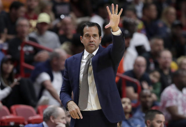 Miami Heat head coach Erik Spoelstra watches during the second half of an NBA basketball game against the Charlotte Hornets, Monday, Nov. 25, 2019, in Miami. The Heat won 117-100. (AP Photo/Lynne Sladky)