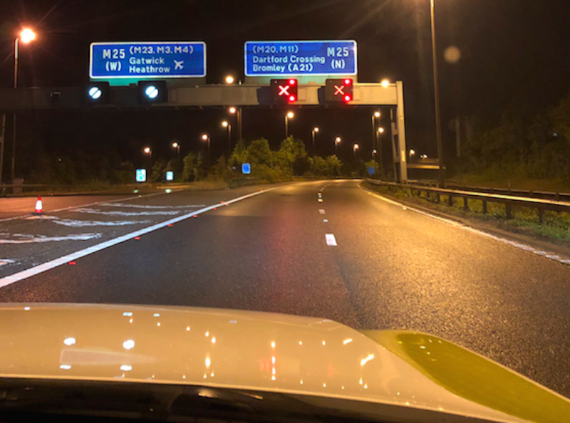 Sinkholes appeared in central reservations along the M25 (Picture: Kent Police Roads Policing Unit)