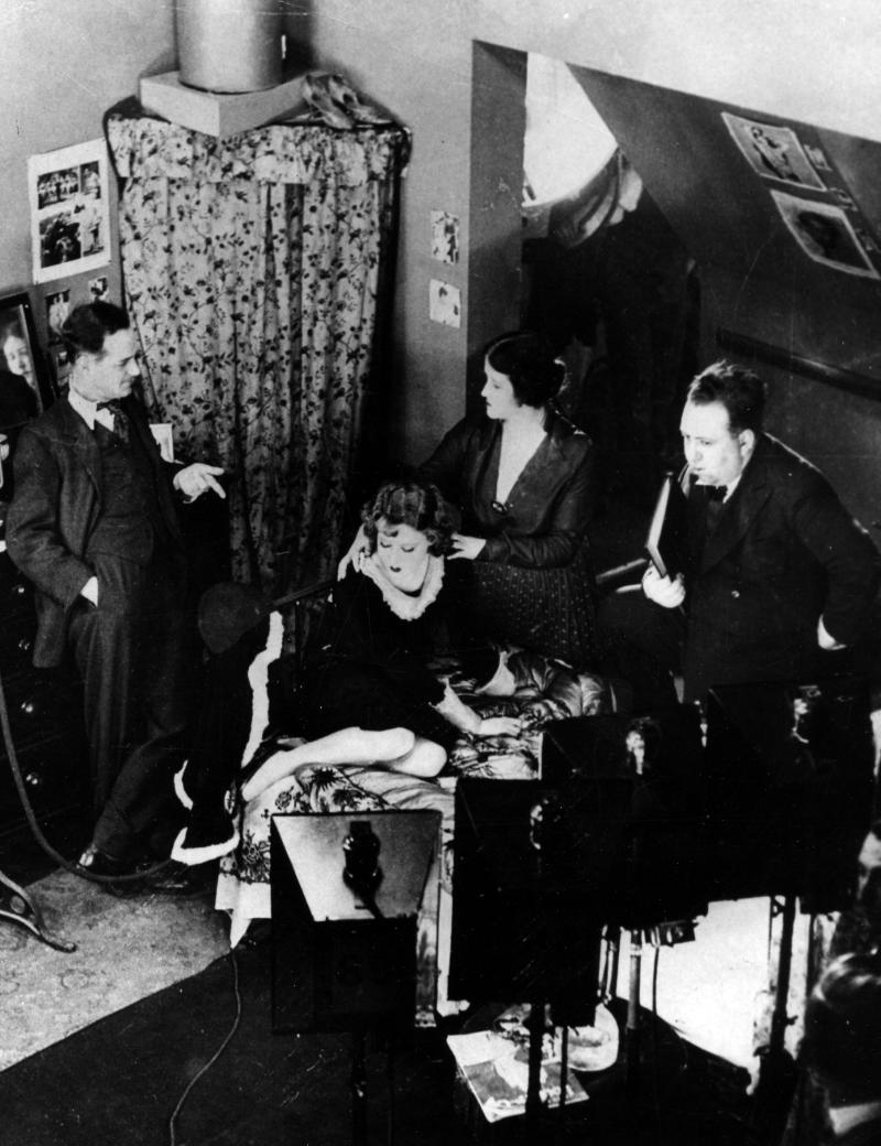 "FILE - In this 1929 file photo, British director Alfred Hitchcock, right, is pictured at the set directing the first British full-length talking picture ""Blackmail.""  The New Zealand Film Archive and the National Film Preservation Foundation announced the discovery of the 1923 film ""The White Shadow,"" thought to be the earliest surviving feature by Alfred Hitchcock. (AP Photo, file)"