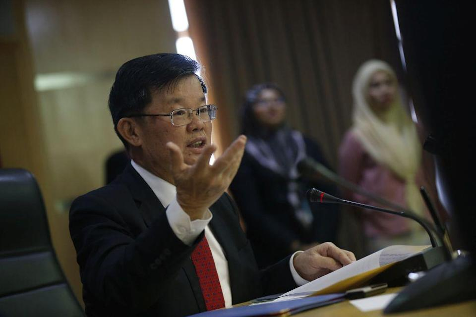 Penang Chief Minister Chow Kon Yeow addresses members of the press at Komtar, George Town February 21, 2020. — Picture by Sayuti Zainudin