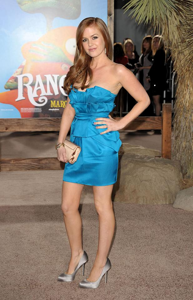 """<a href=""""http://movies.yahoo.com/movie/contributor/1807879068"""">Isla Fisher</a> attends the Los Angeles premiere of <a href=""""http://movies.yahoo.com/movie/1810079248/info"""">Rango</a> on February 14, 2011."""