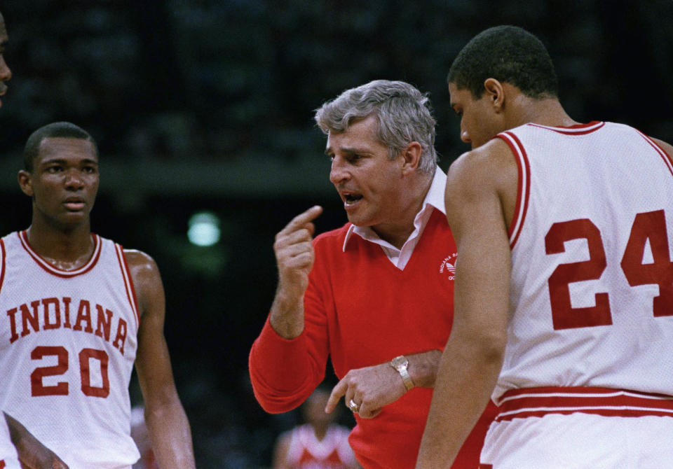 Indiana coach Bobby Knight gestures while instructing his players as the Hoosiers defeated UNLV, 97-93, in NCAA semifinal play on March 30, 1987 in New Orleans. (AP)