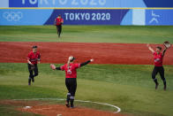 Canada's Janet Leung (15) celebrate after a softball game against Mexico at the 2020 Summer Olympics, Tuesday, July 27, 2021, in Yokohama, Japan. Canada won 3-2. (AP Photo/Matt Slocum)