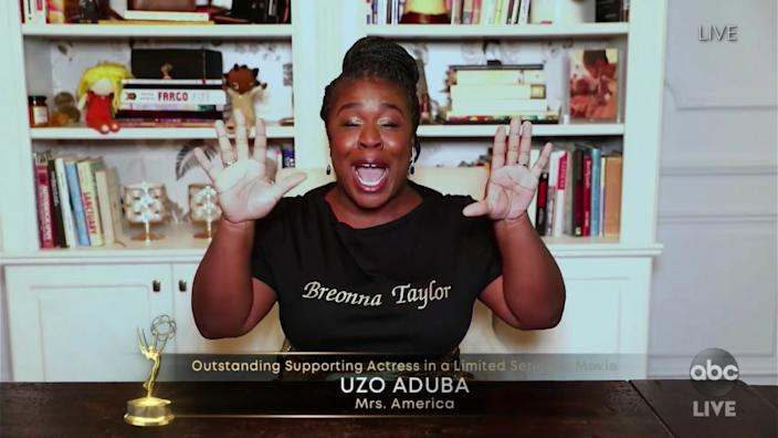 Uzo Aduba won for supporting actress in a limited series at the 72nd Annual Emmy Awards.