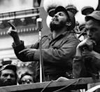 <p>Cuban Rebel Leader Fidel Castro, on the move since 7 a.m. is a tired but smiling man as he reaches Camp Columbia, army headquarters in Havana well past the dinner hour on January 8, 1959. The leader of the forces that overthrew the regime of Dictator Fulgencio Batista receives a riotous welcome in this capital city today and ceremonies at Camp Columbia were expected to last until midnight. Castro overthrew the Bastista government on January 1, 1959. (AP Photo) </p>