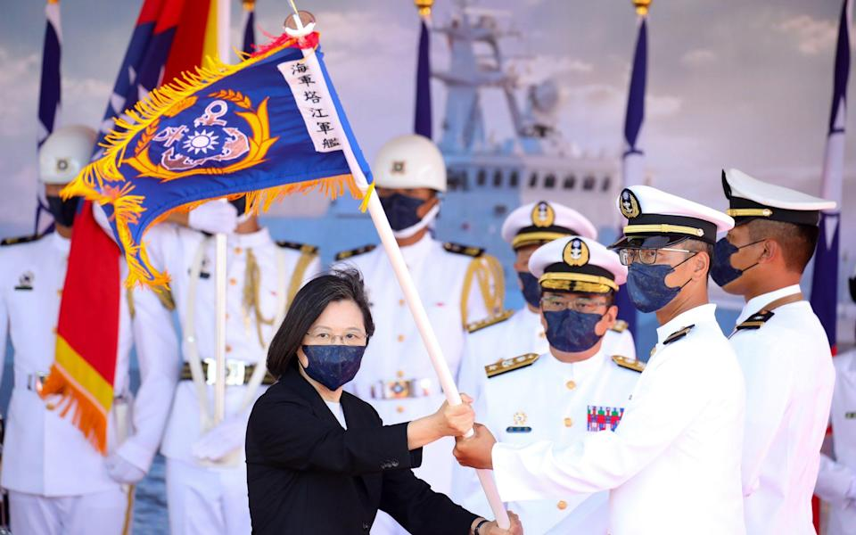 Tsai Ing-wen, Taiwan's president, attends a commissioning ceremony for a new Ta Chiang guided-missile corvette - Bloomberg