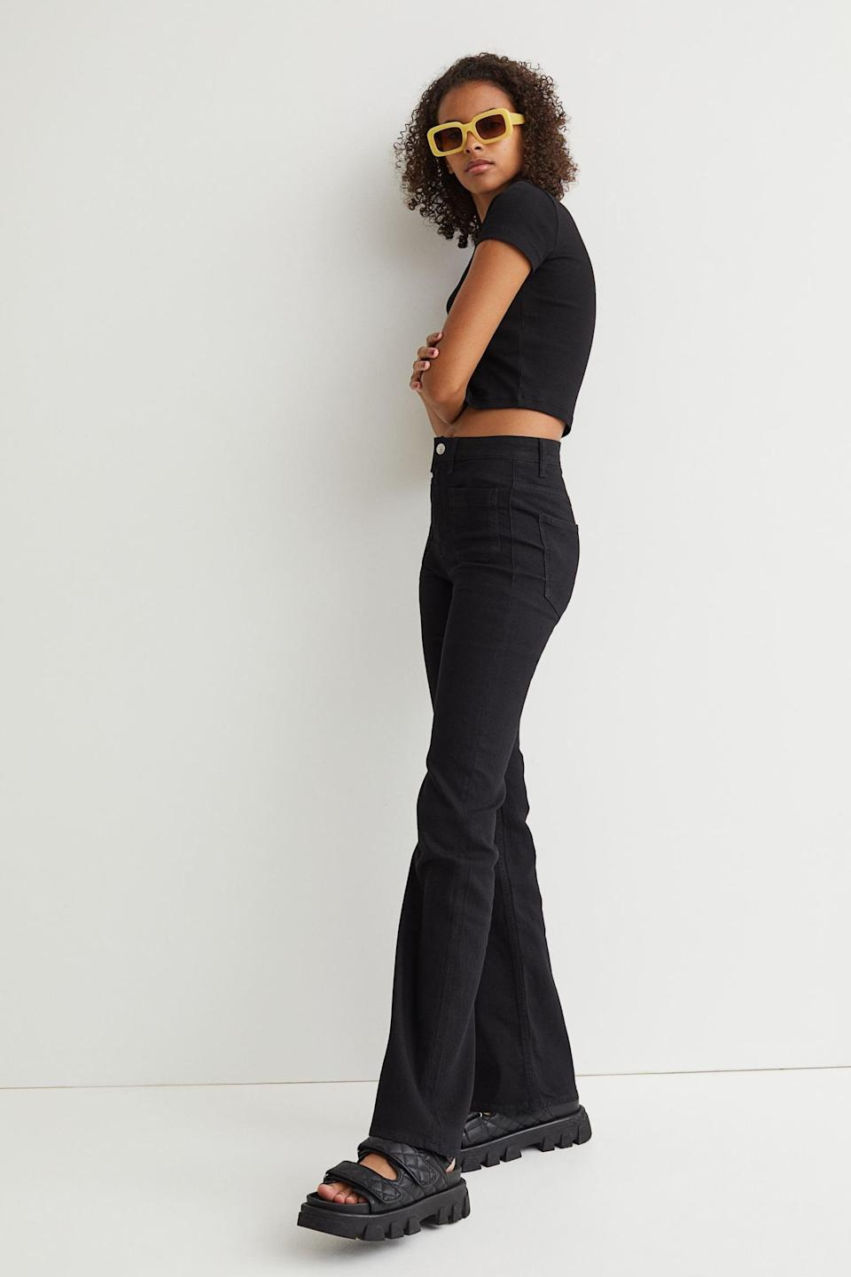 <p>If you're into throw-back flare jeans, well, same. Get in on the tre d with the <span>H&amp;M Flare High Waist Jeans</span> ($25).</p>