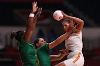 <p>Almudena Maria Rodriguez Rodriguez of Team Spain is challenged by Alexandra Do Nascimento and Tamires de Araujo of Team Brazil during the Women's Preliminary Round Group B handball match between Spain and Brazil on day six of the Tokyo 2020 Olympic Games at Yoyogi National Stadium on July 29, 2021 in Tokyo, Japan. (Photo by Dean Mouhtaropoulos/Getty Images)</p>