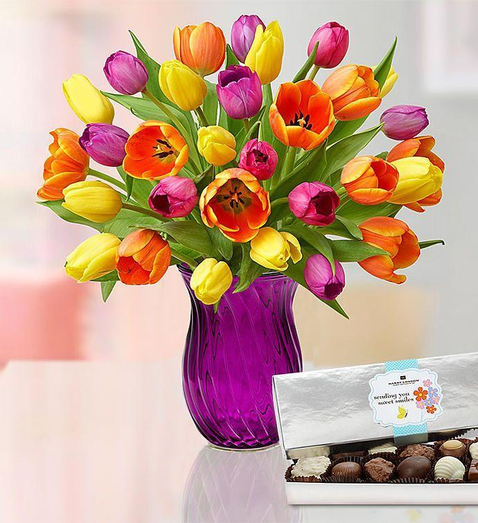 "<p><strong>1-800-Flowers</strong></p><p>1800flowers.com</p><p><a href=""https://go.redirectingat.com?id=74968X1596630&url=https%3A%2F%2Fwww.1800flowers.com%2Fmothersday%2Ftulips-100686%3FcategoryId%3D400186003&sref=https%3A%2F%2Fwww.goodhousekeeping.com%2Fholidays%2Fmothers-day%2Fg5187%2Fmothers-day-flowers%2F"" rel=""nofollow noopener"" target=""_blank"" data-ylk=""slk:Shop Now"" class=""link rapid-noclick-resp"">Shop Now</a></p><p>$42 and up</p><p>Tulips are a no-brainer during the spring months. That's why you should give her a 15- or 30-stem bouquet of orange, pink, purple, and lavender blooms. </p>"