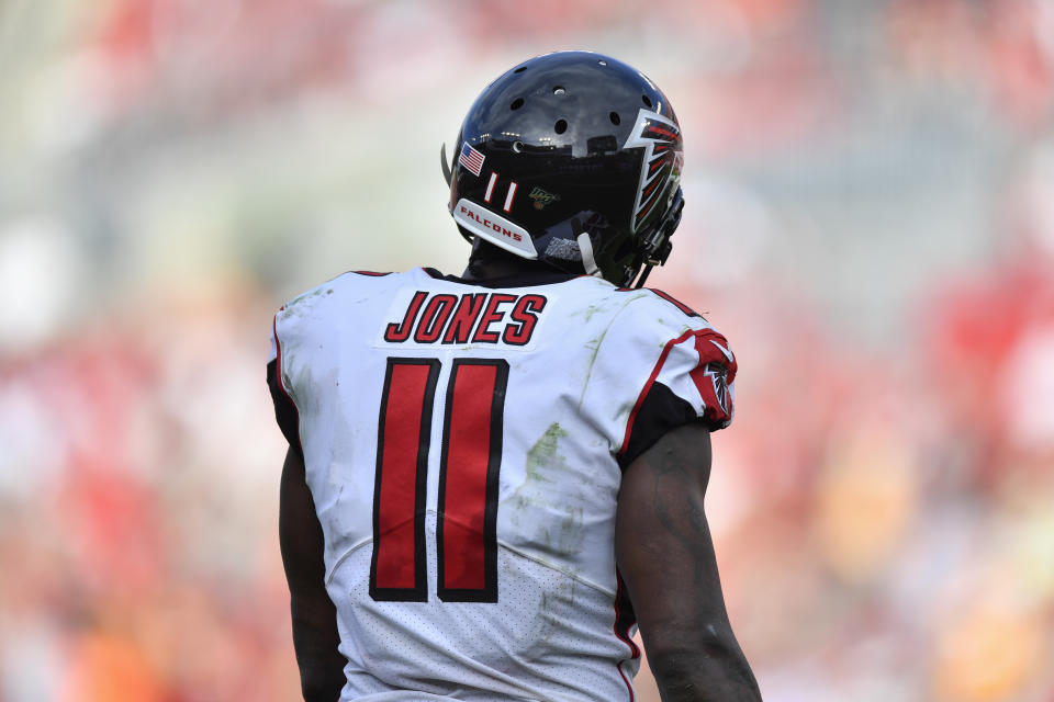 TAMPA, FL - DECEMBER 29: Atlanta Falcons Wide Receiver Julio Jones (11) during the second half of an NFL game between the Atlanta Falcons and the Tampa Bay Bucs on December 29, 2019, at Raymond James Stadium in Tampa, FL. (Photo by Roy K. Miller/Icon Sportswire via Getty Images)