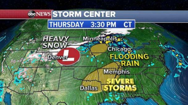 PHOTO: The entire western storm system will move into the Plains and the Midwest on Thursday and with it, severe thunderstorms are possible from Dallas to Memphis (ABC News)