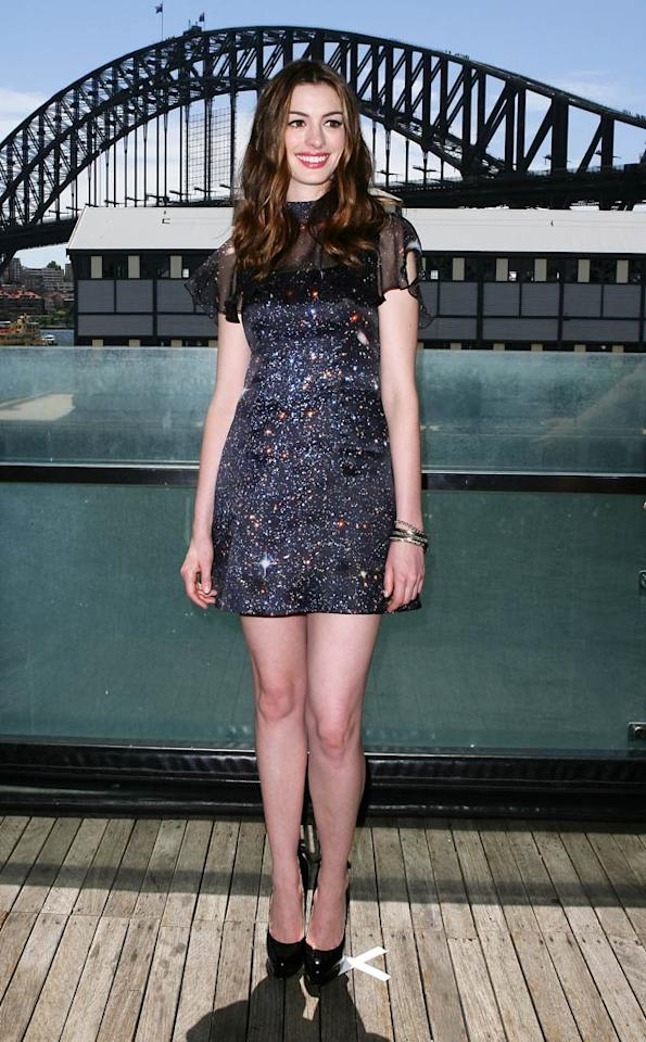 """Last but certainly not least ... Anne Hathaway, who sparkled in an embellished mini and patent leather sky-high heels at a """"Love & Other Drugs"""" press conference in Sydney, Australia. Don Arnold/<a href=""""http://www.wireimage.com"""" target=""""new"""">WireImage.com</a> - December 6, 2010"""