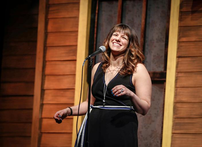 Dani Ausen of Des Moines shares her story about the moment she realized that she was bisexual during Des Moines Storyteller's project at the Des Moines Playhouse on Tuesday, Feb. 6, 2018.