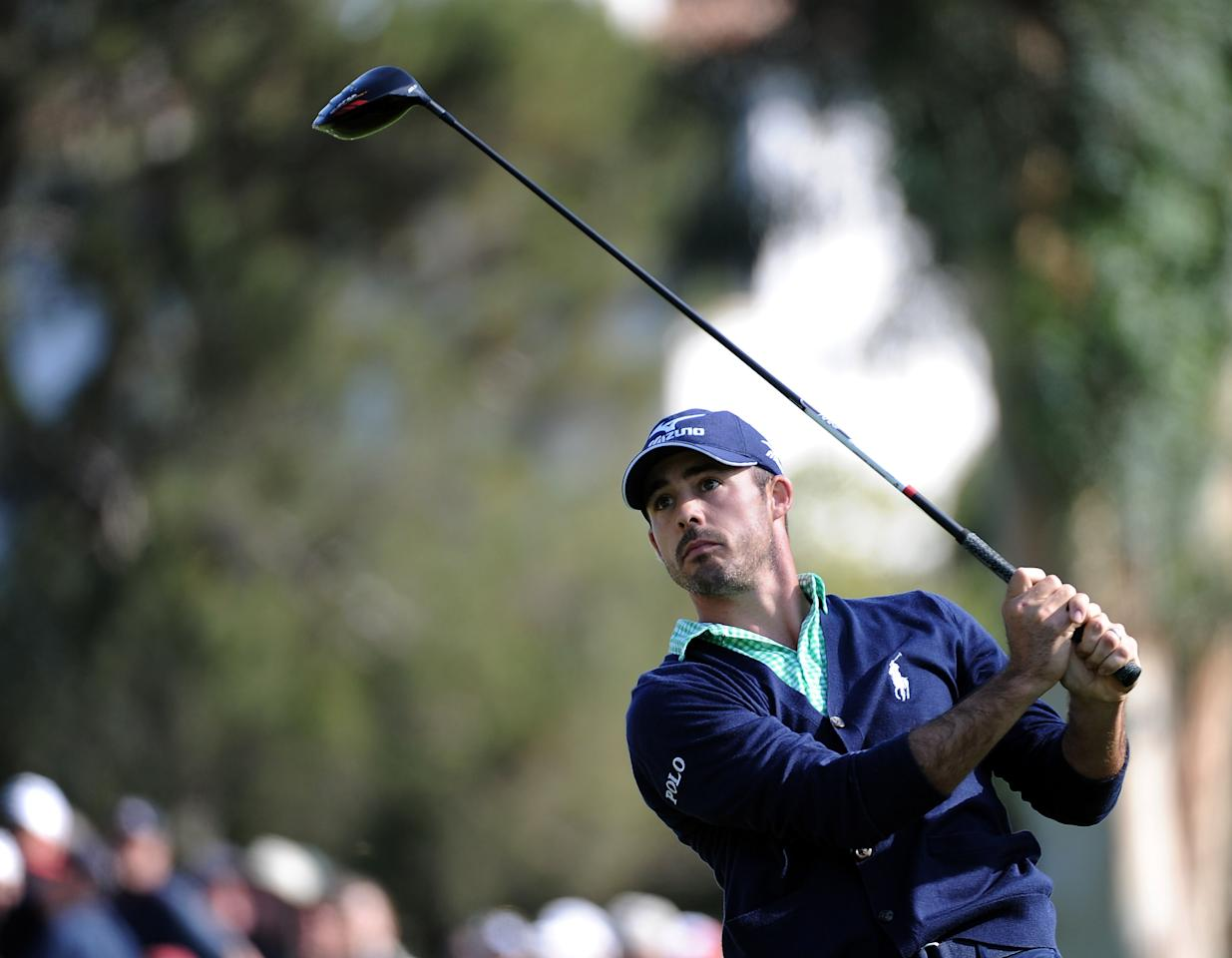 PACIFIC PALISADES, CA - FEBRUARY 18:  Jonathan Byrd hits driver on the second hole during the third round of the Northern Trust Open at the Riviera Country Club on February 18, 2012 in Pacific Palisades, California.  (Photo by Harry How/Getty Images)